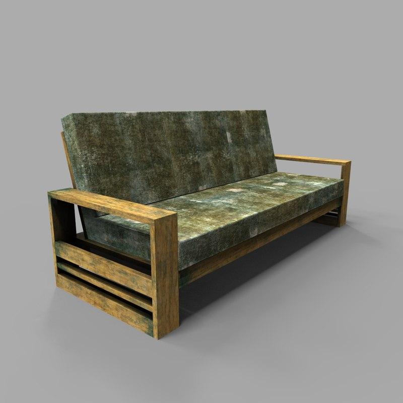 wooden sofa old 3D