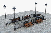 subway gate stair 3D model