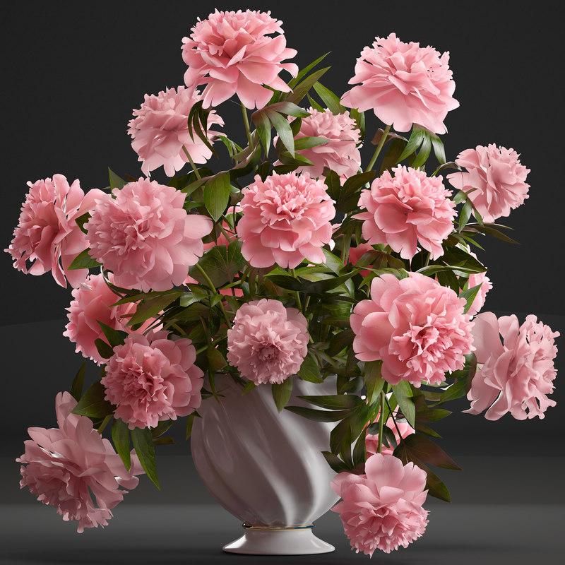 3D model bouquet pink peonies