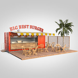 burger shipping container food 3D model