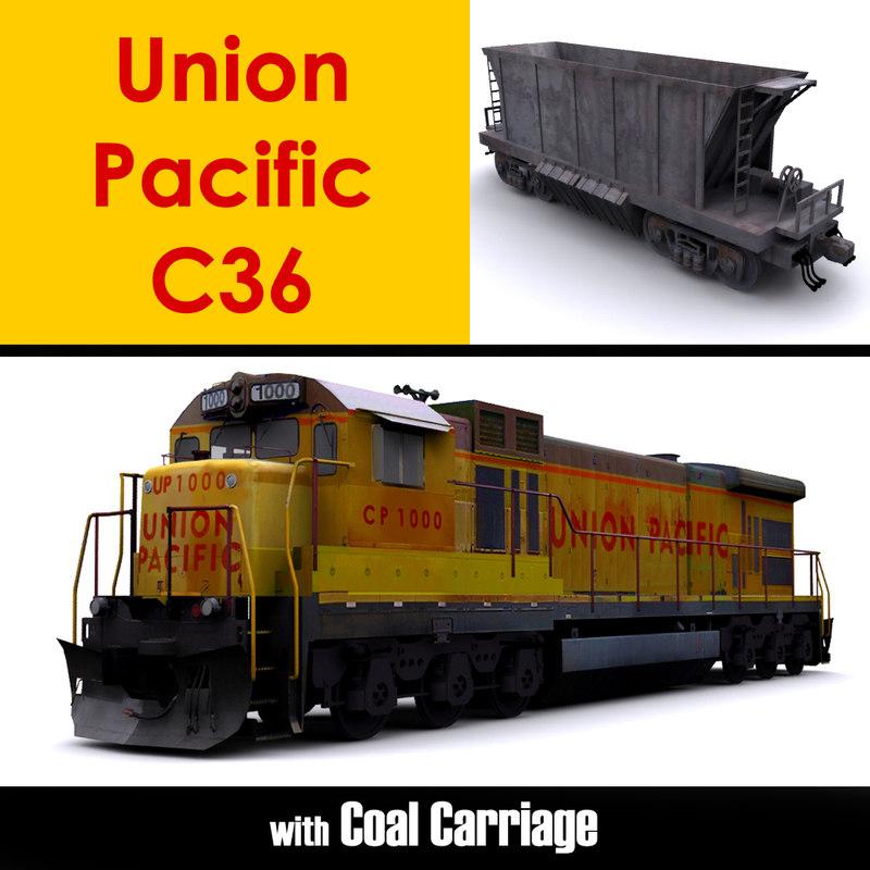 3D union pacific c36 locomotive