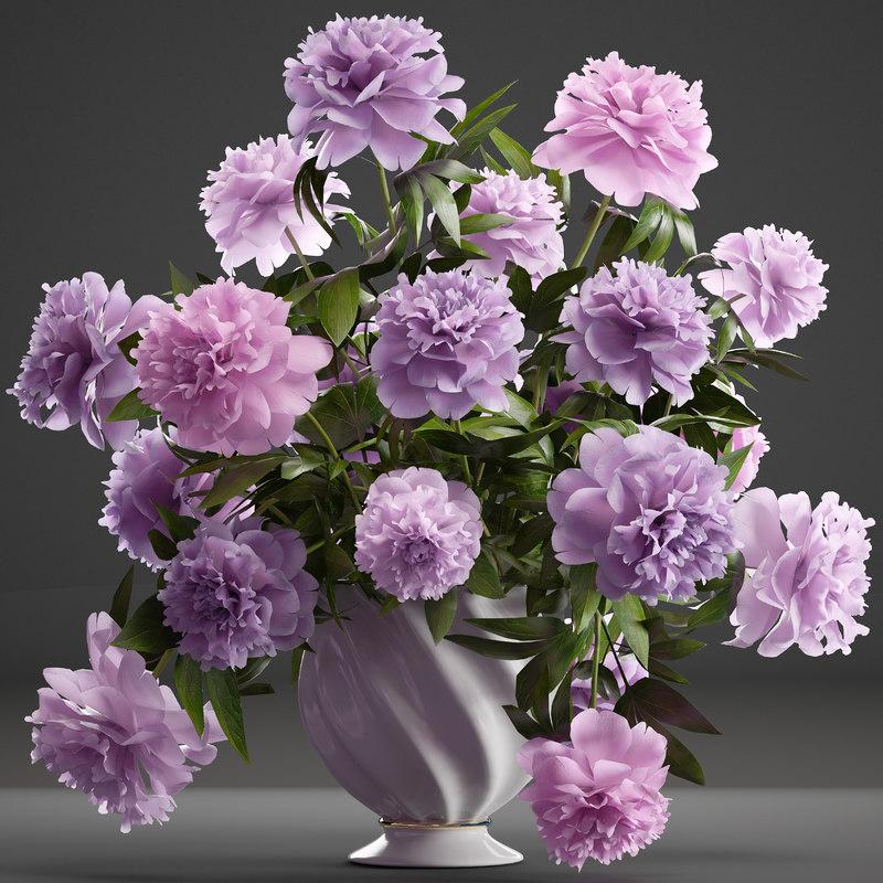 bouquet lilac peonies 3D model