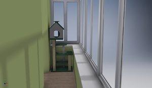3D complex cat balcony model