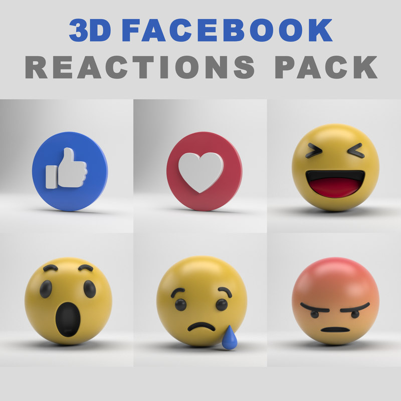 facebook reactions pack 3D model