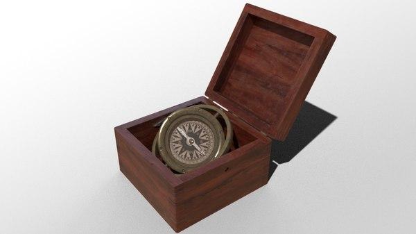 antique nautical compass 3D model