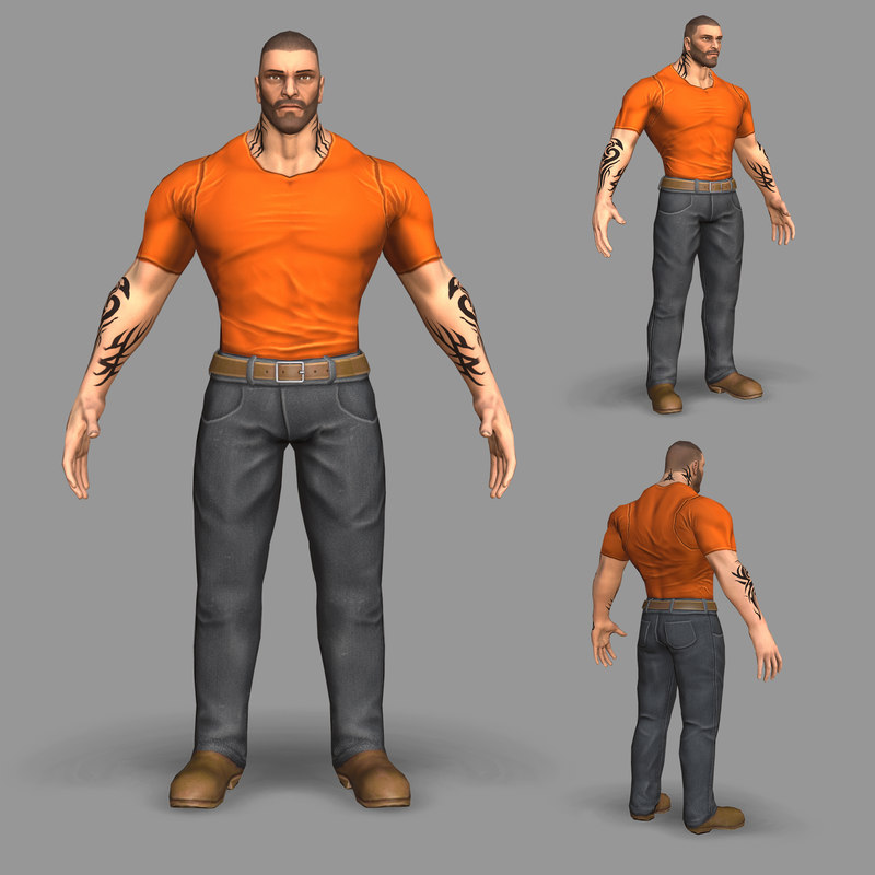 3D gangster gang model