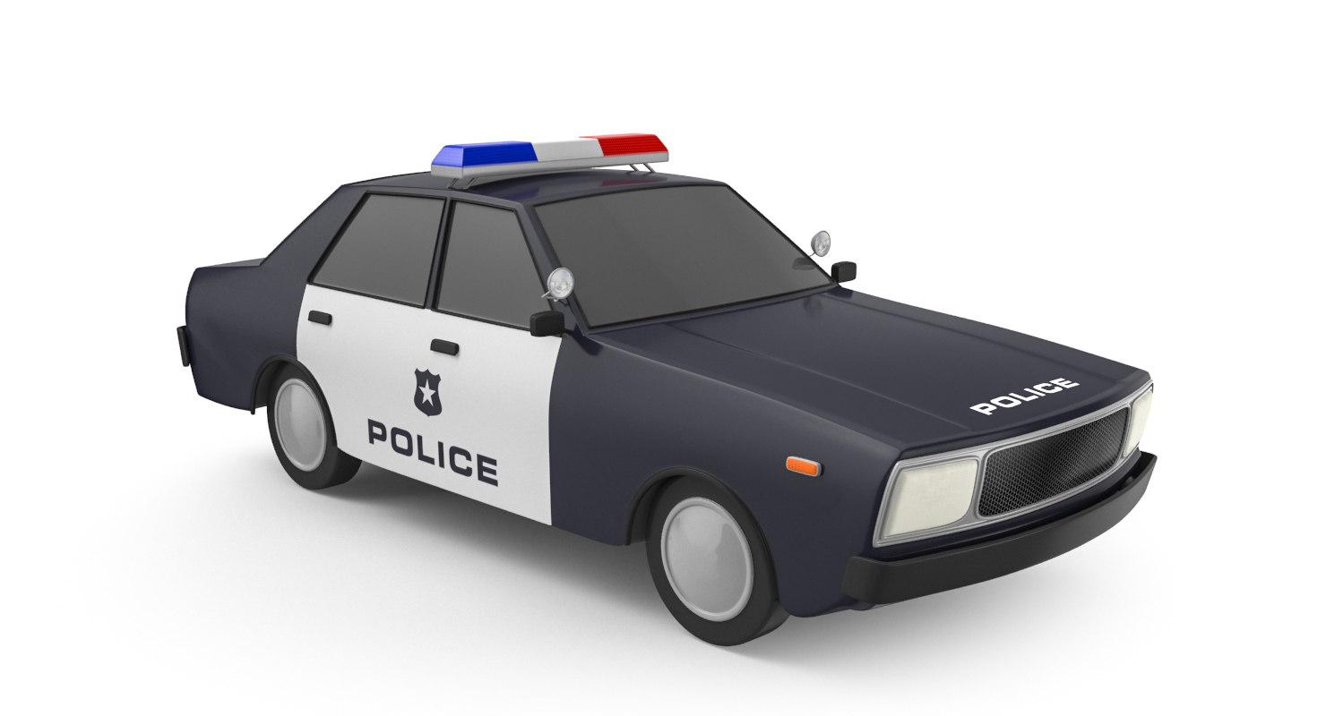 3D cartoon police car model