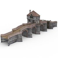 3D stone bridge norsca daz model