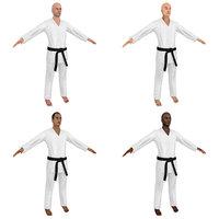 3D model karate martial artist