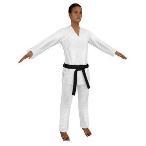 3D karate martial artist