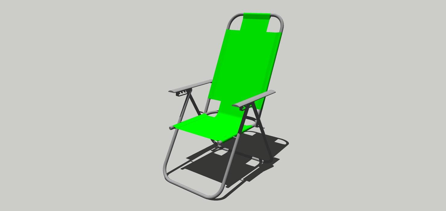 3D model reposera tela reclinable