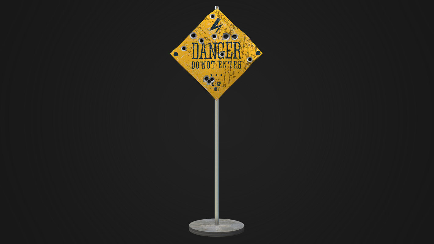 shooted old road sign 3D model