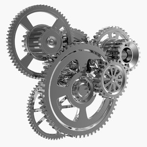 chrome clockwork mechanism 3D