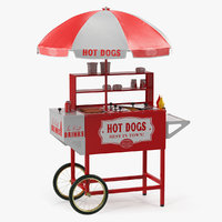 Hot Dog Cart with Food 3D Model