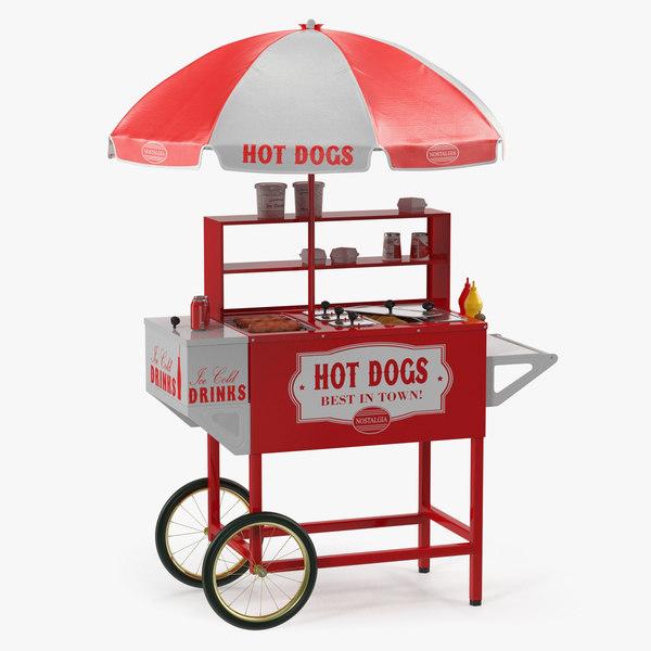 3D hot dog cart food
