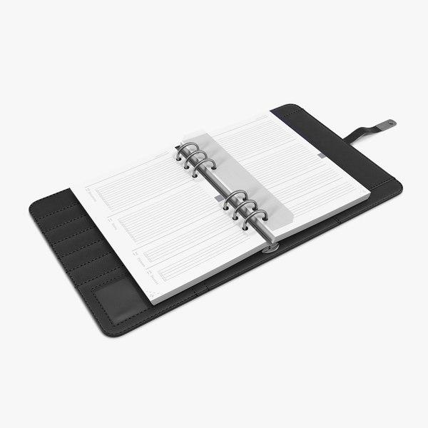 leather black organizer open 3D