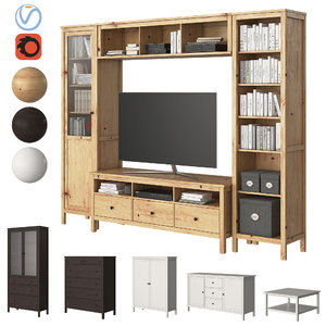 3D set furniture ikea hemnes