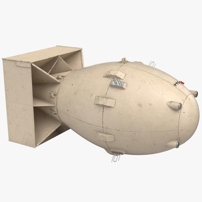 3D model fat man nuclear bomb