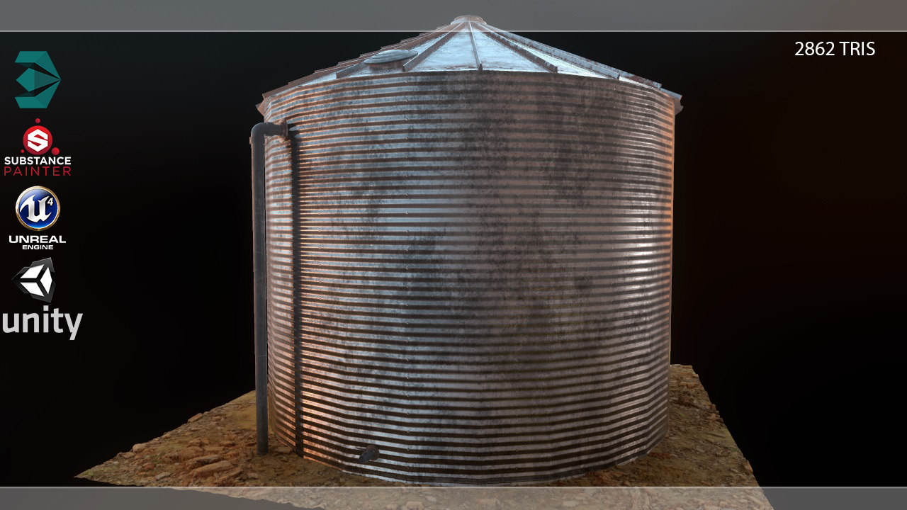 water storage tank pbr 3D model