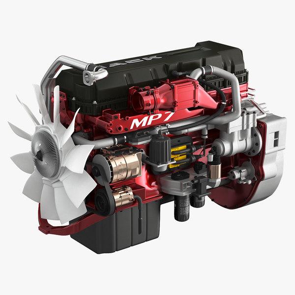 3D mack semi truck engine