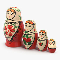 3D matryoshka doll set model