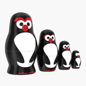 matryoshka penguin set 3D