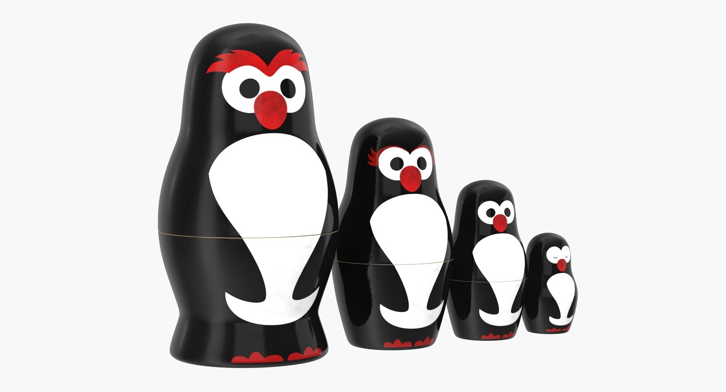matryoshka penguin set 3D