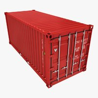 3D model container 20ft red