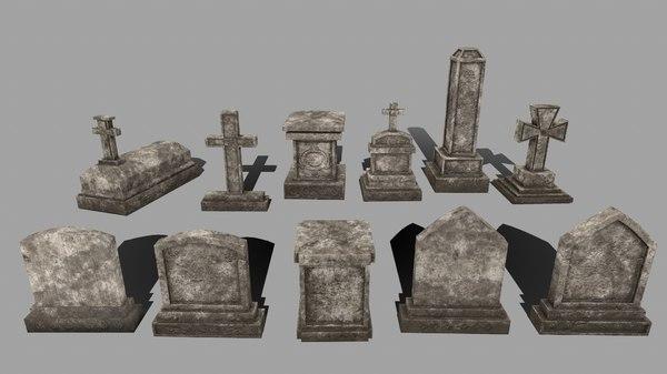 3D tombstone stone tomb