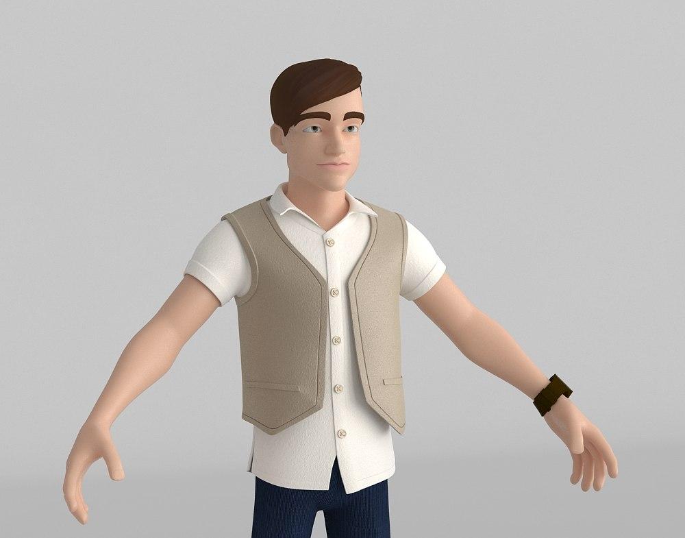3D model young man