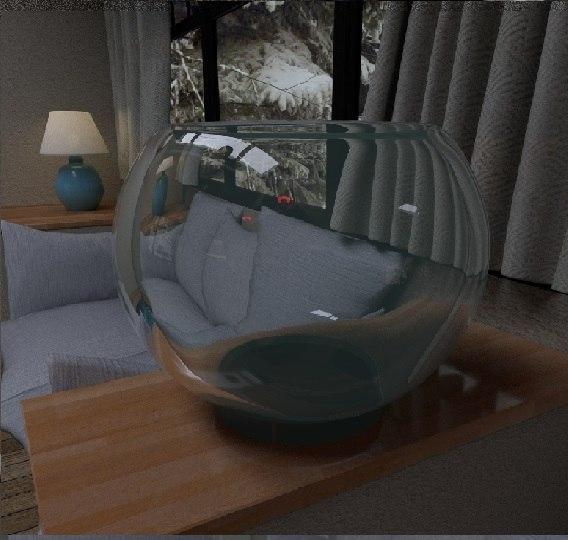 glass fish bowl 3D