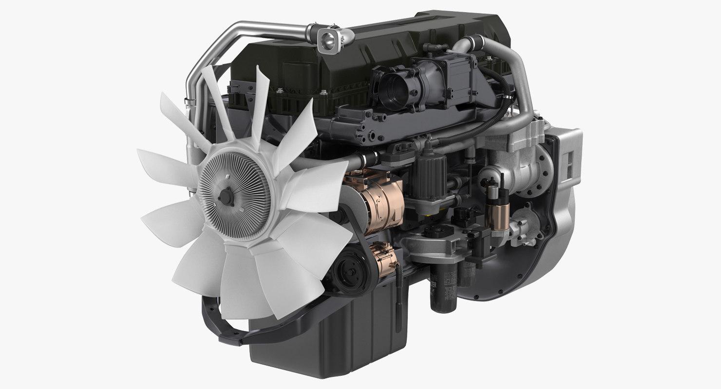 semi truck turbo diesel engine 3D model