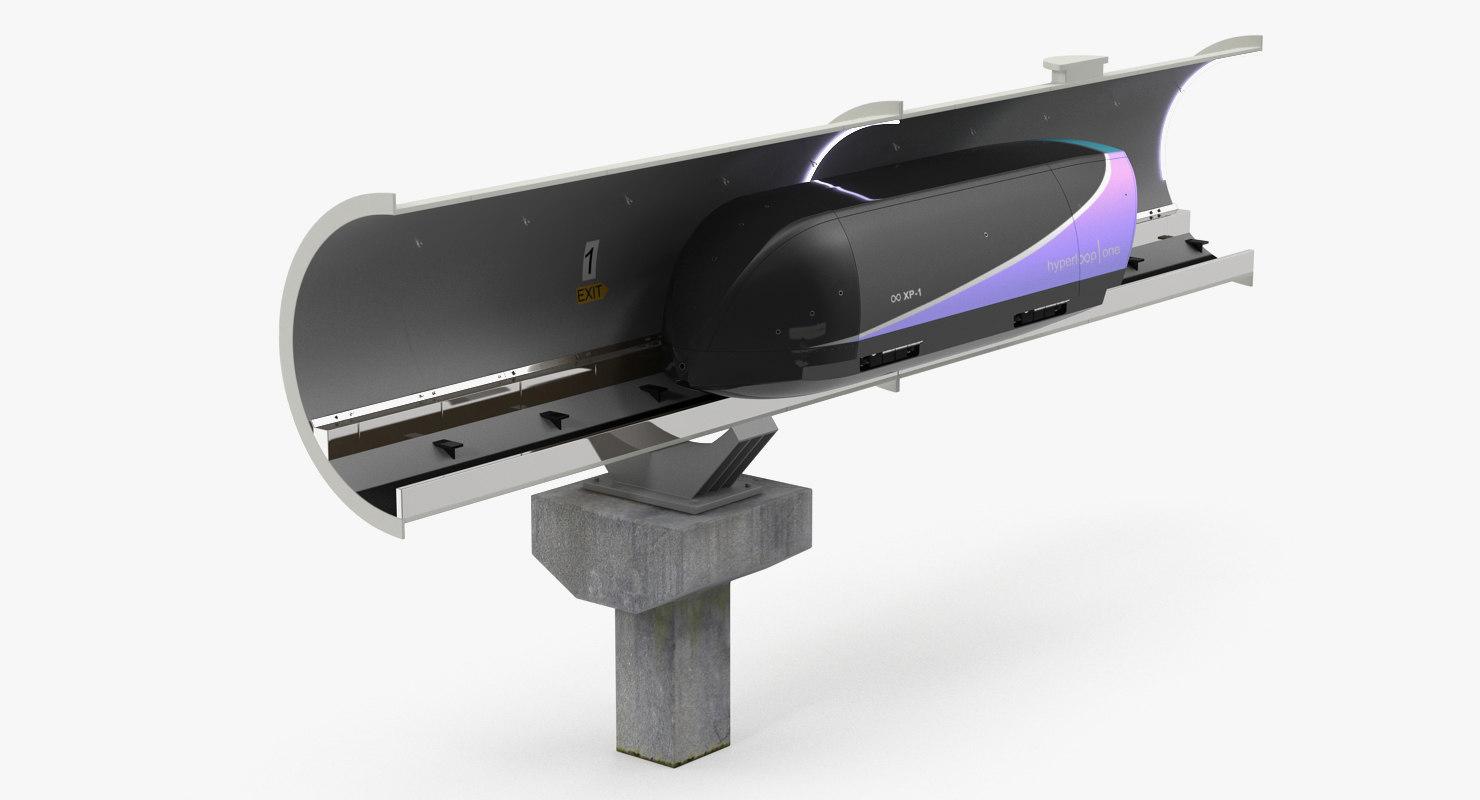 speed hyperloop tunnel section 3D model