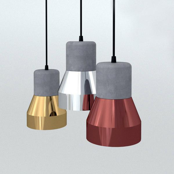 3D cement steel lamp model