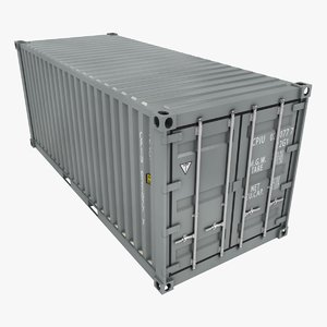 3D container 20ft gray