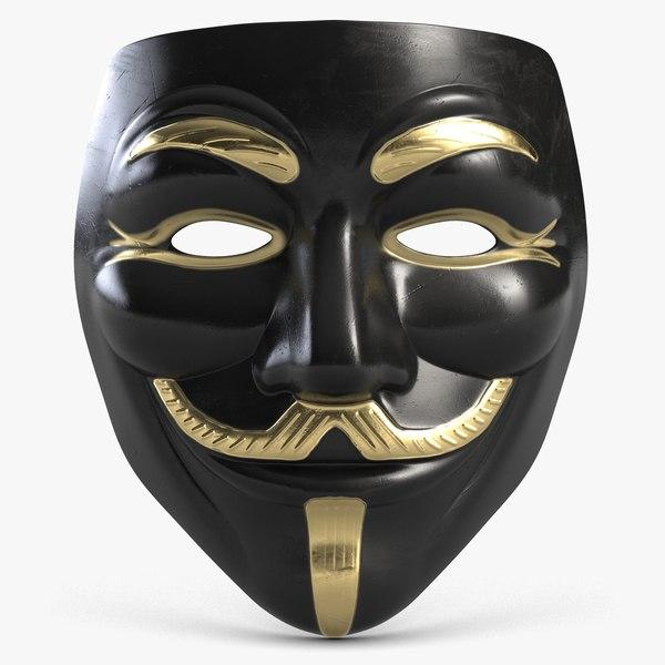 guy fawkes mask golden 3D model