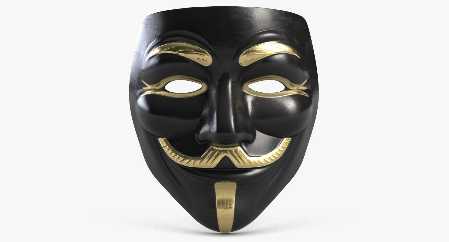 guy fawkes mask golden 3D model