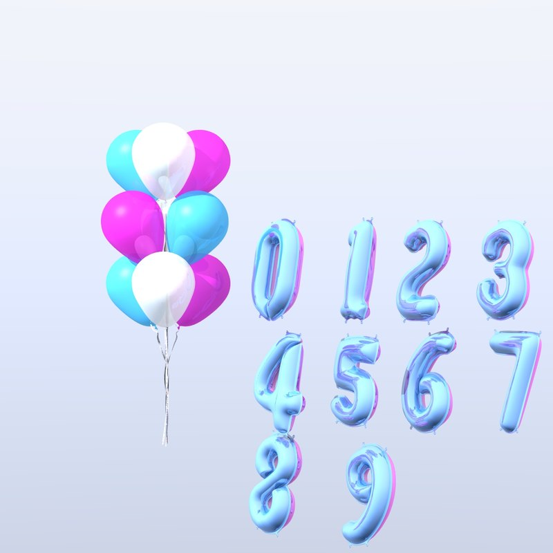 numbers balloons 3D