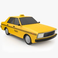 Low Poly Cartoon Taxi Cab 3D Model