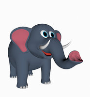3D model cartoon elephan