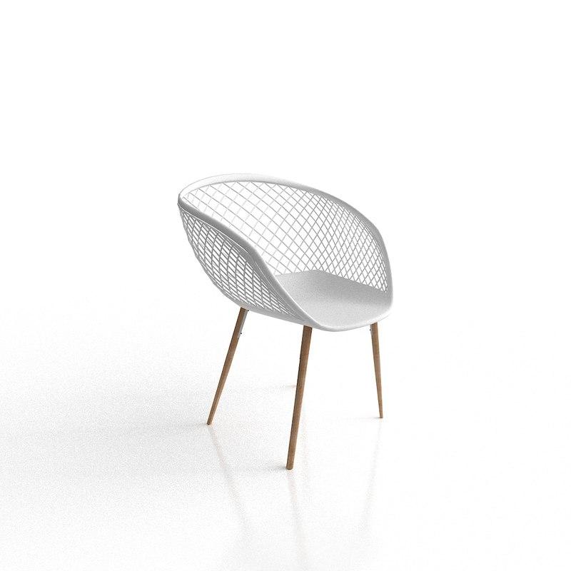 3D cb2 sidera white chair