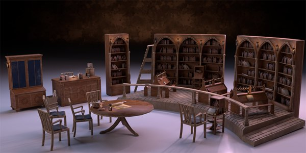 3D medieval library pack pbr