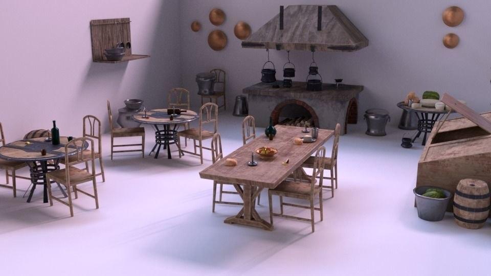 3D medieval kitchen ar vr model