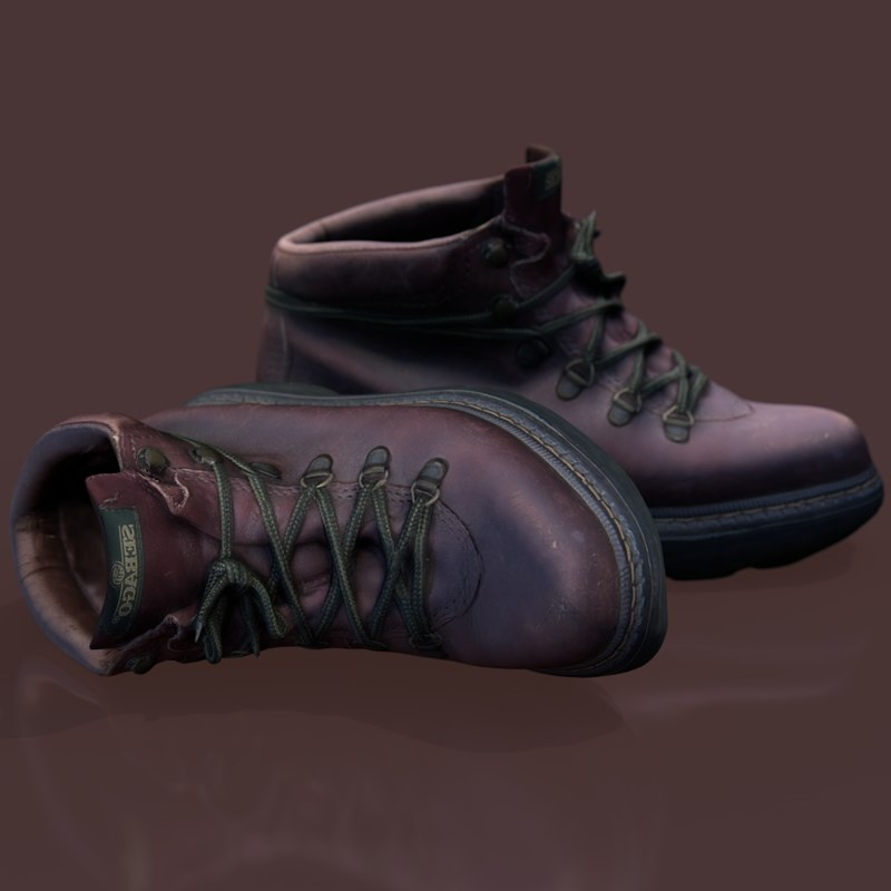 brown hiking boots 3D model