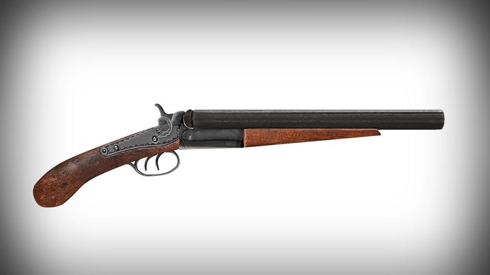 3D vintage sawed-off shotgun model