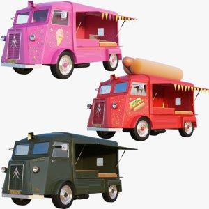 trucks cream v-ray 3D model