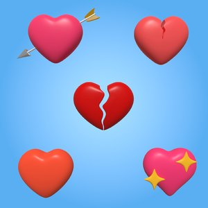 3D hearts icons model