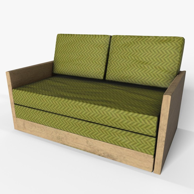 3D model 2 seater wooden couch