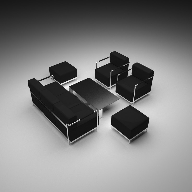 table sofa set 3D model