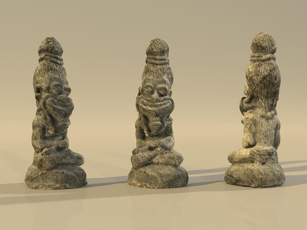 3D statue idol sadhu model